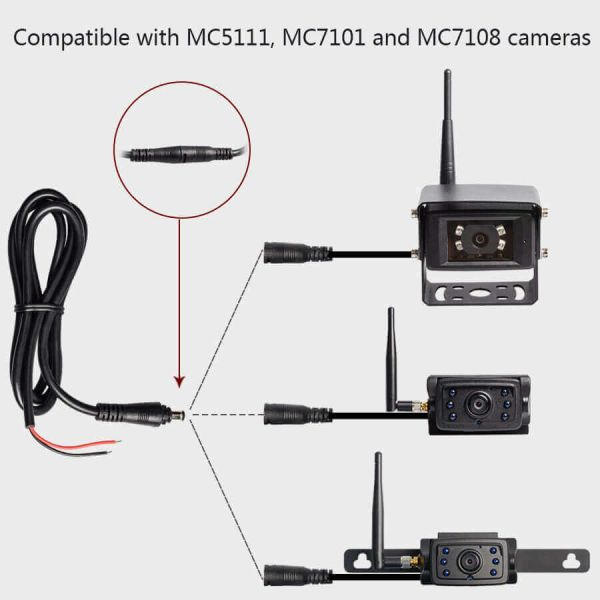 Haloview DC Power Cable Adapter for MC7108/MC5111/MC7101/MC5101 Camera
