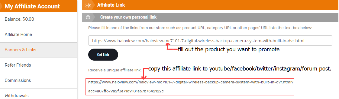 how to get haloview affiliate link